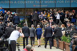 © Licensed to London News Pictures. 04/10/2017. Manchester, UK. British prime minister THERESA MAY arrives in the conference hall to deliver her leaders speech on the final day of the Conservative Party Conference. The four day event is expected to focus heavily on Brexit, with the British prime minister hoping to dampen rumours of a leadership challenge. Photo credit: Ben Cawthra/LNP