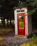 Unique outhouse with one-way mirror for occupants to watch for marauding brown bears, CIRI and South Central Foundation's camp at Silver Salmon Creek, Lake Clark National Park, Alaska.