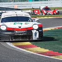 #92, Porsche Motorsport, Porsche 911 RSR,LMGTE Pro, driven by: Michael Christensen, Kevin Estre at FIA WEC Spa 6h, Circuit de Spa-Francorchamps motor-racing circuit, on 05.05.2018