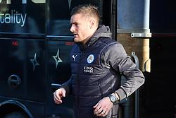 Leicester City's Jamie Vardy arrives at Highbury stadium prior to the match