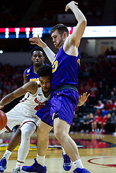 NORMAL, IL - December 31: Zach Copeland takes the ball in against Austin Phyfe during a college basketball game between the ISU Redbirds and the University of Northern Iowa Panthers on December 31 2019 at Redbird Arena in Normal, IL. (Photo by Alan Look)
