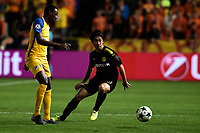 Borussia Dortmund's Shinji tries to control the ball during UEFA Champions League Group H match against APOEL Nicosia at the GSP Stadium in Nicosia, Cyprus, on October 17, 2017. Photo: Angelos Tzortzinis/dpa