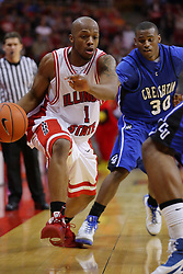03 January 2009: Antoine Young reaches out in an effort to stop Emmanuel Holloway. The Illinois State University Redbirds extended their record to 14-0 with a 86-64 win over the Creighton Bluejays on Doug Collins Court inside Redbird Arena on the campus of Illinois State University in Normal Illinois