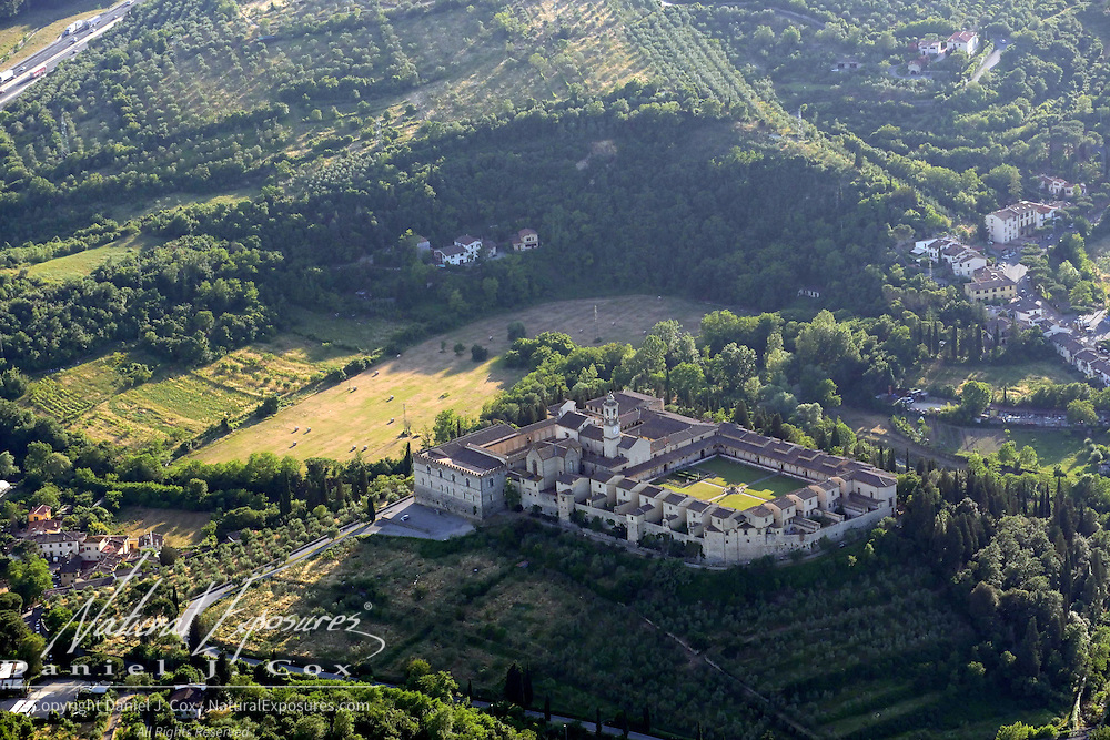 Aerial of the countryside outside of Florence, Italy