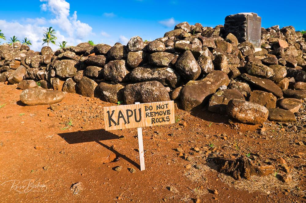 Kapu sign at Poli'ahu Heiau (temple), Wailua River State Park, Island of Kauai, Hawaii