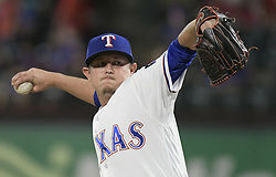 September 12, 2017 - Arlington, TX, USA - Texas Rangers pitcher Nick Gardewine throws during the third inning against the Seattle Mariners at Globe Life Park in Arlington, Texas, on Tuesday, Sept. 12, 2017. (Credit Image: © Max Faulkner/TNS via ZUMA Wire)