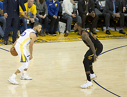 May 31, 2018 - Oakland, California, U.S - LeBron James #23 of the Cleveland  Cavaliers defends  against Stephen Curry #30 of the Golden State Warriors  during their NBA Championship Game 1 at Oracle Arena in  Oakland, California on Thursday,  May 31, 2018. ARMANDO  ARORIZO/PI (Credit Image: © Prensa Internacional via ZUMA Wire)