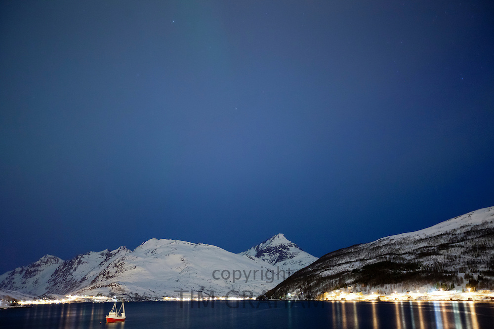 Hamlet on Kvaloya Island near Tromso in Arctic Circle Northern Norway
