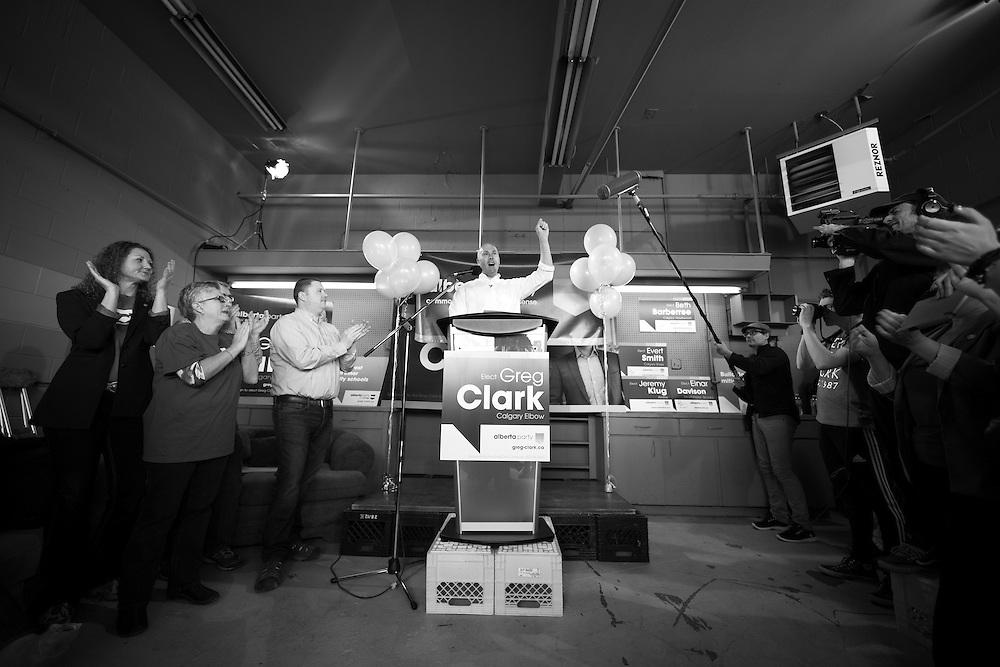Alberta Party leader Greg Clark campaigning in Calgary, Alberta, April 11, 2015. Photograph by Todd Korol