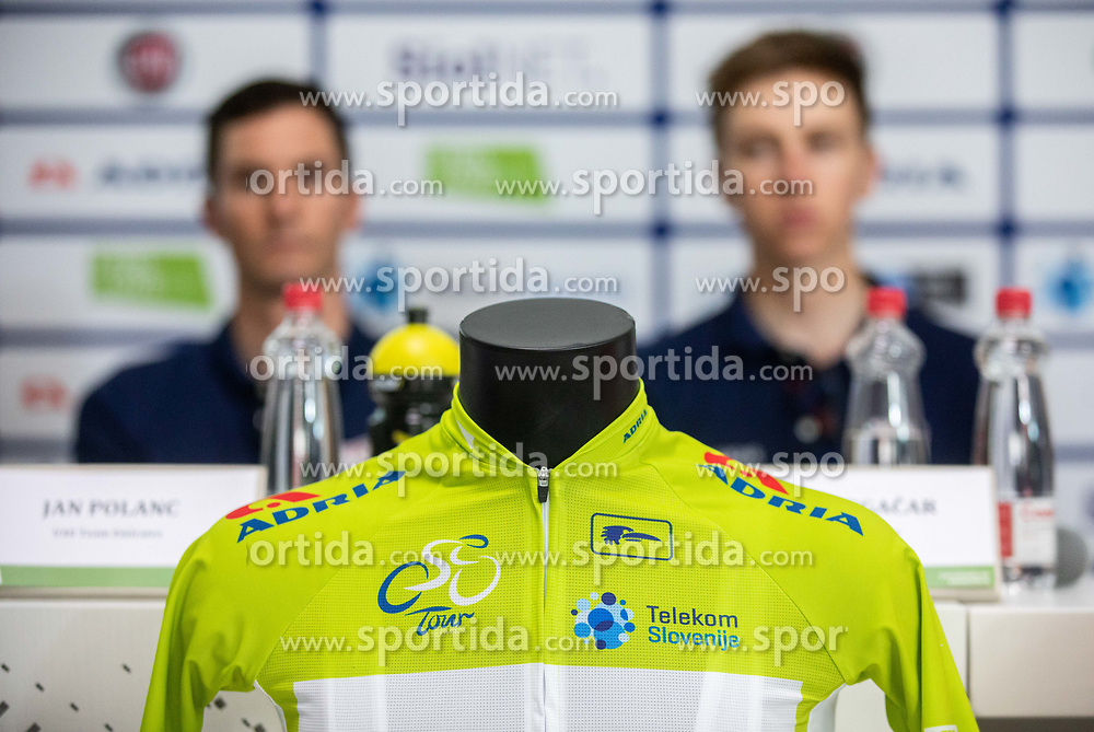 Green jersey during press conference of cycling race Tour od Slovenia 2019 1 day before the competition, on June 18, 2019 in Ljubljana's castle, Ljubljana, Slovenia. Photo by Vid Ponikvar / Sportida