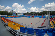 The beach soccer arena at the Olympic Sports Complex during the Minsk 2019 European Games on the 21st June 2019 in Minsk, Belarus.