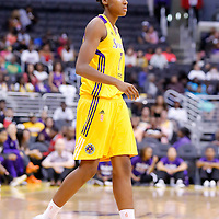 24 August 2014: Los Angeles Sparks forward/center Sandrine Gruda (7) is seen during the Phoenix Mercury 93-68 victory over the Los Angeles Sparks, in a Conference Semi-Finals at the Staples Center, Los Angeles, California, USA.