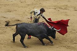 June 10, 2018 - Madrid, Spain - Bullfighter performs during the traditional Press Bullfight, the last event of the San Isidro Bullfighting Fair, held at Las Ventas bullring in Madrid, Spain, 10 June 2018. (Credit Image: © Oscar Gonzalez/NurPhoto via ZUMA Press)