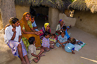 Women and children in Bishnoi tribal village, near Rohet, Rajasthan, India