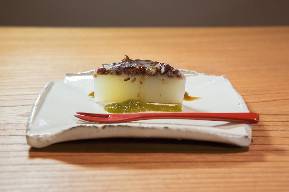 Minazuki (azuki beans, black sugar jelly and green plum puree) at Kajitsu, 125 E. 39th St., New York.