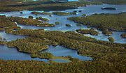 Aerial view of Saturday Bay in Crooked Lake in Minnesota's Boundary Waters Canoe Area Wilderness on the <br /> Minnesota/Canada border.