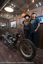 Misumi and Go Takamine in their Brat Style Motorcycles display at the 26th Annual Yokohama Hot Rod and Custom Show 2017. Yokohama, Japan. Sunday December 3, 2017. Photography ©2017 Michael Lichter.