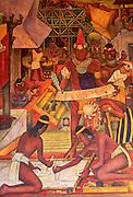 MEXICO, MEXICO CITY, MURAL Rivera mural 'Tarascan Civilization'
