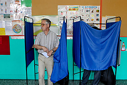May 26, 2019 - Athens, Greece - Polls opened early Sunday in Greece, with nearly 10 million registered voters called upon to vote for the European Parliament, regional and local councils. (Credit Image: © Aristidis VafeiadakisZUMA Wire)