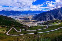 Road to Ganden Monastery, Dagze, Tibet (Xizang), China.