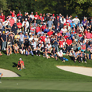 Ryder Cup 2016. Day One. Rory McIlroy of Europe  lines up the decisive putt on the sixteenth hole to put Europe back in contention in the Friday afternoon four-ball competition during the Ryder Cup at  Hazeltine National Golf Club on September 30, 2016 in Chaska, Minnesota.  (Photo by Tim Clayton/Corbis via Getty Images)