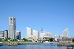 Skyline of modern Minato Mirai district of Yokohama in Japan