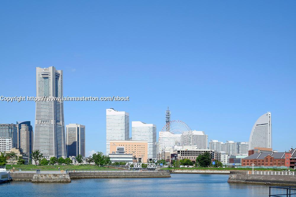 Skyline of modern Minato Mirai district of Yokohama in Japan