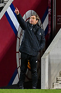 Alloa Athletic manager, Peter Grant points to his players during the SPFL Championship match between Heart of Midlothian FC and Alloa Athletic FC at Tynecastle Park, Edinburgh, Scotland on 9 April 2021.