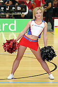One of the Suzuki Cheerleaders the during the half time break of the NBL Game in Hamilton,Basketball,Pistons Vs Saints , Wednesday 4 May 2011.<br /> Photo: Dion Mellow / photosport.co.nz