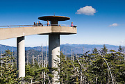 """A popular observation tower on Clingman's Dome gives a panoramic view of Great Smoky Mountains National Park of Tennessee and North Carolina, in southeastern USA. Clingmans Dome (6,643 feet or 2,025 meters elevation) is the highest mountain in the Great Smokies, the highest in Tennessee, the highest along the 2,174-mile (3,499 km) Appalachian Trail, and the third-highest mountain in the Appalachian range. A paved road connects it to U.S. Highway 441 (Newfound Gap Road). The summit is coated by a Spruce-fir (or """"boreal"""") forest, common in northern latitudes, but found only in the highest elevations in the southeastern United States. Clingmans Dome, like most of the Great Smokies, consists of a type of lightly metamorphosed sedimentary rock (especially sandstone) that is part of the Ocoee Supergroup formation, created from ancient ocean sediments nearly one billion years ago. The Smoky Mountains are among the oldest in the world, lifted approximately 200-300 million years ago in the Alleghenian orogeny."""