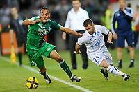FOOTBALL - FRENCH CHAMPIONSHIP 2010/2011 - L1 - AJ AUXERRE v AS SAINT ETIENNE - 9/04/2011 - PHOTO GUY JEFFROY / DPPI - PIERRE AUBAMEYANG (ASSE) / FREDERIC SAMMARITANO (AUX)
