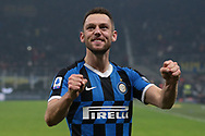 Stefan de Vrij of Inter celebrates after the final whistle of the Serie A match at Giuseppe Meazza, Milan. Picture date: 9th February 2020. Picture credit should read: Jonathan Moscrop/Sportimage