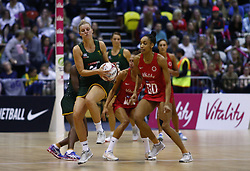 January 19, 2019 - London, England, United Kingdom - Erin Burger of South Africa (SPAR Proteas) (Green).During Netball Quad Series Vitality Netball International match between England and South Afr at Copper Box Arena on January 19, 2019 in London, England. (Credit Image: © Action Foto Sport/NurPhoto via ZUMA Press)