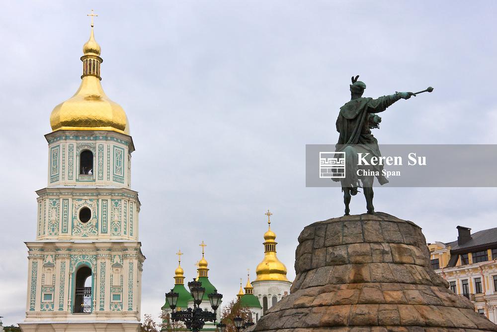Saint Sophia Cathedral tower and equestrian statue, Kiev, Ukraine, Europe