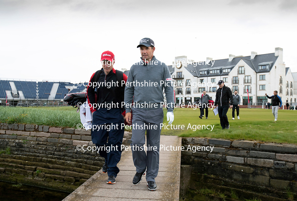 Padraig Harrington Returns to Carnoustie…09.05.18<br />Golfer Padraig Harrington returned to Carnoustie to play the four play off holes that saw him win The Open in 2007. He is pictured with his caddy Ronan Flood<br />Picture by Graeme Hart.<br />Copyright Perthshire Picture Agency<br />Tel: 01738 623350  Mobile: 07990 594431
