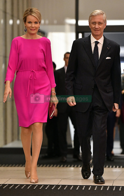 October 14, 2016 - Osaka, JAPAN - Queen Mathilde of Belgium and King Philippe - Filip of Belgium pictured as they arrive for a concert 'Japan and Belgium, one in music' in the Knowledge Theater Osaka, on day five of a state visit to Japan of the Belgian Royals, Friday 14 October 2016, in Osaka, Japan. BELGA PHOTO ERIC LALMAND (Credit Image: © Eric Lalmand/Belga via ZUMA Press)