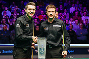 Mark Selby & Jack Lisowski shake hands in front of the Stephen Hendry Scottish Open Trophy ahead of the first session of  the World Snooker 19.com Scottish  Open Final Mark Selby vs Jack Lisowski at the Emirates Arena, Glasgow, Scotland on 15 December 2019.