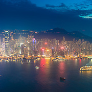 Hong Kong Island And The Peak From Above Panorama