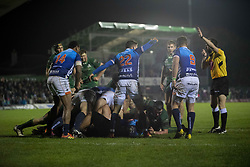 March 22, 2019 - Ireland - Connacht and Benetton players in action during the Guinness PRO14 match between Connacht Rugby and Benetton Rugby at the Sportsground in Galway, Ireland on March 22, 2019  (Credit Image: © Andrew Surma/NurPhoto via ZUMA Press)