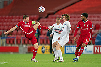 Football - 2020 / 2021 Champions League - Group D - Liverpool vs FC Midtjylland - Anfield<br /> <br /> Liverpool's James Milner clears the ball under pressure from Midtjylland's BOZHIDAR KRAEV<br /> <br /> COLORSPORT/TERRY DONNELLY