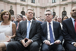 June 20, 2017 - Berlin, Germany - Romanian President Klaus Iohannis (2L) with his wife Carmen Iohannis (L) and German Interior Minister Thomas De Maiziere (2R) attend a Commemoration day for the Victims of escape and eviction at the German History Museum in Berlin, Germany on June 20, 2017. (Credit Image: © Emmanuele Contini/NurPhoto via ZUMA Press)