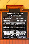 Schedule at the Durango & Silverton Narrow Gauge Railroad depot, Durango, Colorado