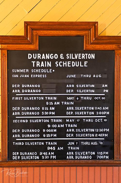 Schedule at the Durango & Silverton Narrow Gauge Railroad depot, Durango, Colorado