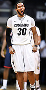 SHOT 1/21/12 6:28:22 PM - Colorado's Carlon Brown #30 reacts after getting a chance at a three point play after being fouled by an Arizona player during their PAC 12 regular season men's basketball game at the Coors Events Center in Boulder, Co. Colorado won the game 64-63..(Photo by Marc Piscotty / © 2012)