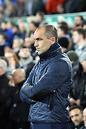 Everton Manager Roberto Martinez looks on prior to kick off. Barclays Premier league match, Everton v Crystal Palace at Goodison Park in Liverpool, Merseyside on Monday 7th December 2015.<br /> pic by Chris Stading, Andrew Orchard sports photography.