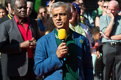 Mayor of London SADIQ KHAN make a speech at a multi-faith prayer service taking place before the start of the first day of the Notting Hill Carnival. The service is to remember the victims of the Grenfell Fire. It is second largest street festival in the world after the Rio Carnival in Brazil, attracting over 1 million people. Photo credit: Ray Tang/LNP