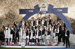TURIN, May 20, 2019  FC Juventus' team celebrate winning their league during the trophy ceremony at the end of the Serie A soccer match between FC Juventus and Atalanta in Turin, Italy, May 19, 2019. FC Juventus sealed the title with a 2-1 victory over FC Fiorentina on April 20, 2019. (Credit Image: © Alberto Lingria/Xinhua via ZUMA Wire)