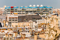 aerial view of beaubourg area with the pompidou center museum  cityscape of Paris in france