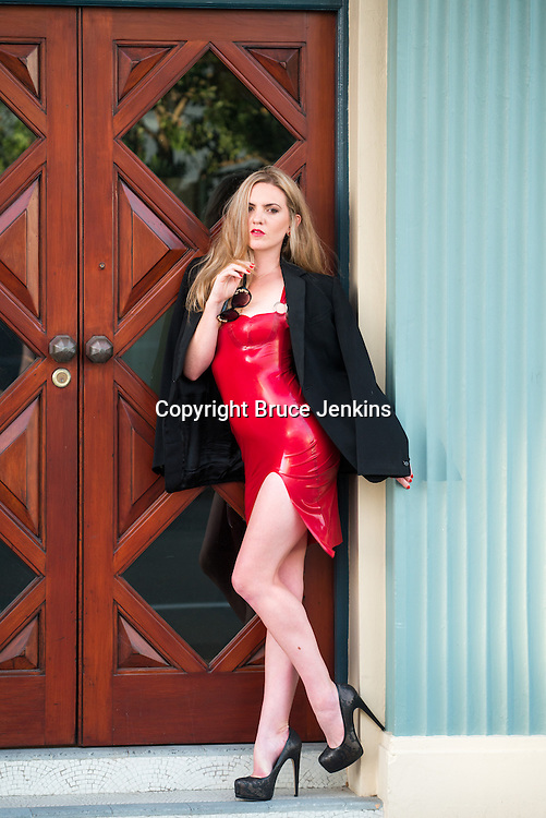 Eliza-May Tolhurst red dress photographed by Bruce Jenkins