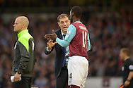 West Ham United manager Slaven Bilic talking to Pedro Mba Obiang of West Ham United before he comes on. Barclays Premier League, West Ham Utd v Chelsea at The Boleyn Ground, Upton Park in London on Saturday 24th October 2015.<br /> pic by John Patrick Fletcher, Andrew Orchard sports photography.